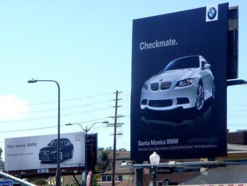 billboard, advertising, BMW, Audi, advertising fail