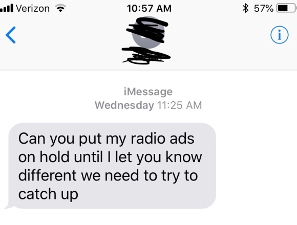 radio advertising text from Sioux Falls client